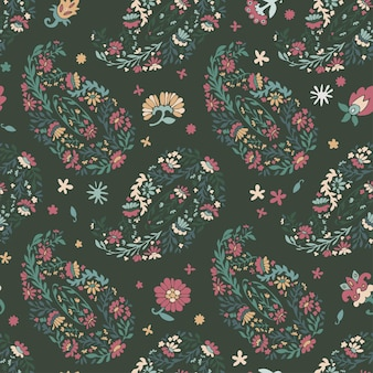 Fleurs épanouies et feuilles décoratives, motif floral sans couture avec feuillage et fleur. fond d'écran ou arrière-plan abstrait de botanique. branches et floraison de plantes imprimées. vecteur dans un style plat