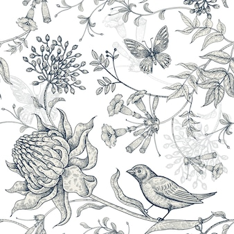 Fleurs exotiques, papillons et oiseaux.