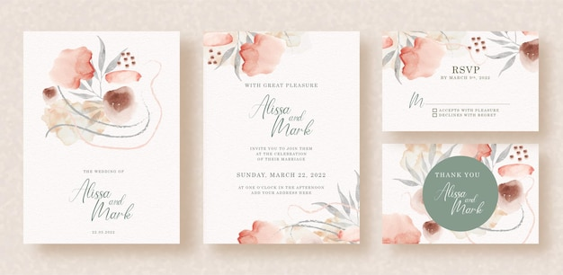 Fleurs et feuilles aquarelle sur invitation de mariage