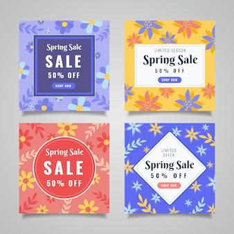 Fleurs et feuilles colorées collection vente de printemps instagram post