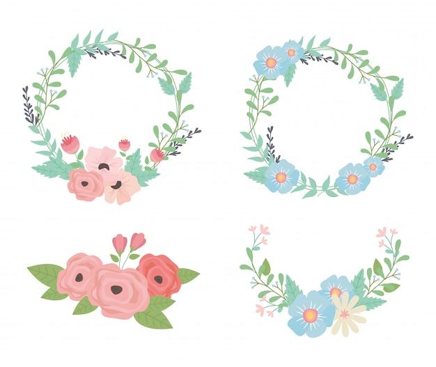Fleurs et feuilles décorations couronnes et couronnes