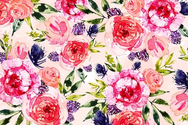 Fleurs et feuilles design fond aquarelle