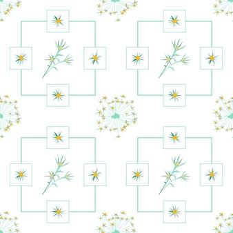 Fleurs et feuilles d'été motif fleurs bleues abstraites sans soudure et brindilles vertes