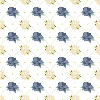 Fleurs et feuilles d'été sans soudure fleurs blanches et bleues en répétition linéaire