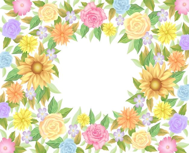 Fleurs et feuilles de fleurs roses avec décoration d'espace vide