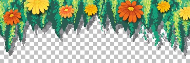 Fleurs et feuilles fond transparent