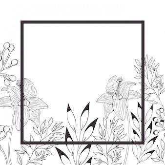 Fleurs et feuilles avec icône isolé cadre