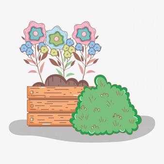 Fleurs avec des feuilles à l'intérieur du pot de bois et de la brousse