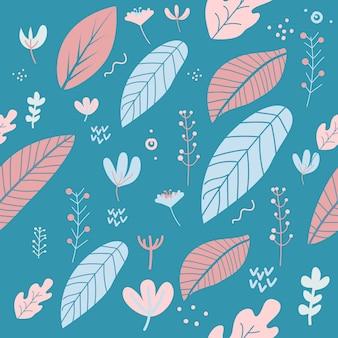 Fleurs et feuilles jolies couleurs pastel printanières. motif floral