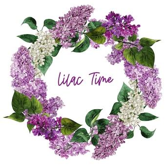 Fleurs et feuilles de lilas aquarelle