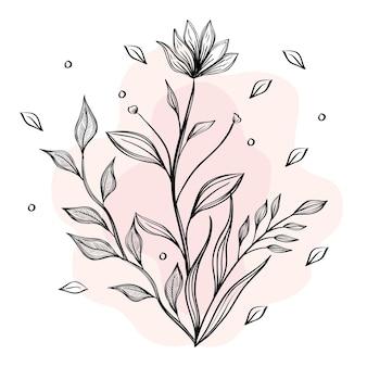 Fleurs et feuilles manuscrites