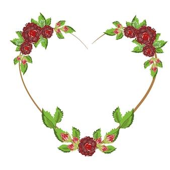 Fleurs et feuilles nature cadre en forme de coeur romantique, peinture d'illustration