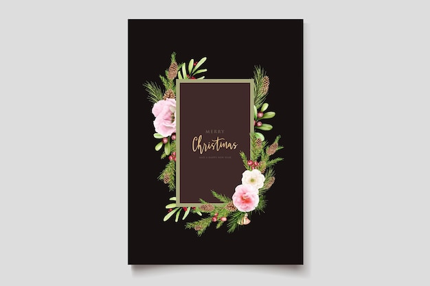 Fleurs et feuilles de noël aquarelle dessinées à la main