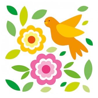 Fleurs feuilles et oiseau