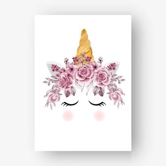 Fleurs et feuilles d'or rose aquarelle de couronne de licorne
