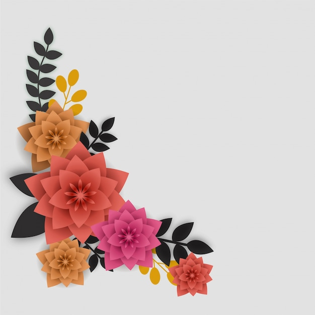 Fleurs et feuilles de papier colorés.