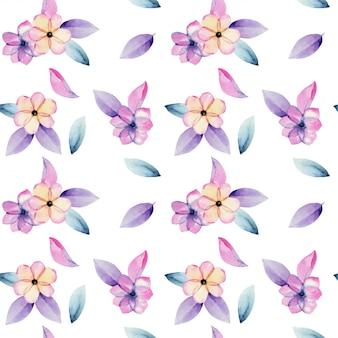 Fleurs de fleur de pomme pastel aquarelle et modèle sans couture de feuilles violettes tendres, peintes à la main