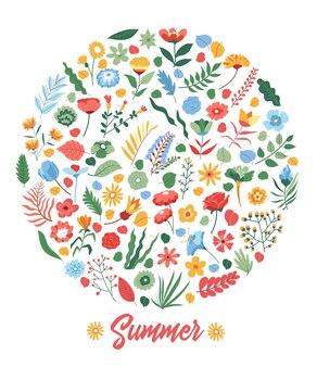 Fleurs et fleurs, plantes fleuries et fleurs sur bannière arrondie. saison estivale, carte d'invitation lumineuse ou affiche. bouquet et branches florissantes avec des feuilles. vecteur dans l'illustration de style plat