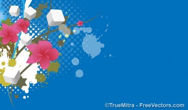 Fleurs sur fond bleu avec des cubes