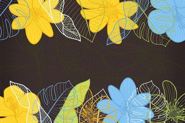 Fleurs sur fond de tableau noir