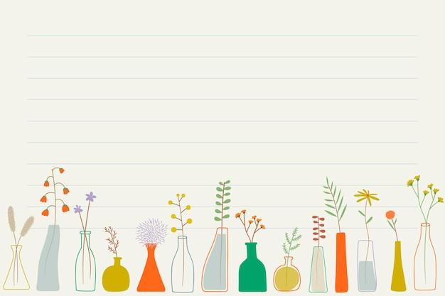 Fleurs de griffonnage dans le papier de note de vases