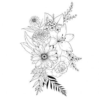 Fleurs de griffonnage dessinés à la main