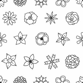 Fleurs de griffonnage noir et blanc sur un modèle sans couture de fond blanc illustration vectorielle