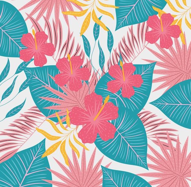 Fleurs hawaïennes avec des feuilles