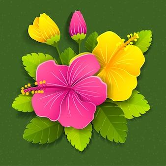 Fleurs d'hibiscus coupe papier