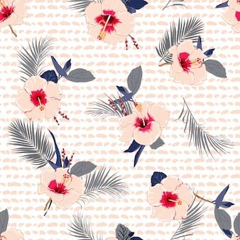 Fleurs d'hibiscus été brillant vecteur d'impression de hawaï sans soudure