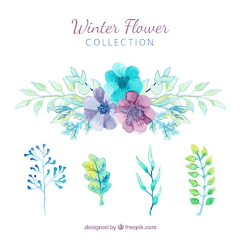 Fleurs d'hiver en aquarelle bleue, verte et violette