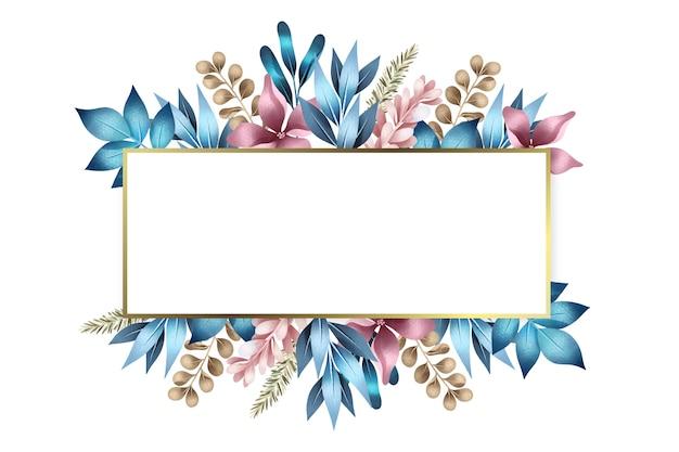 Fleurs d'hiver avec bannière rectangle vide