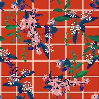 Fleurs de jardin colorées en fleurs sur le motif de contrôle de fenêtre