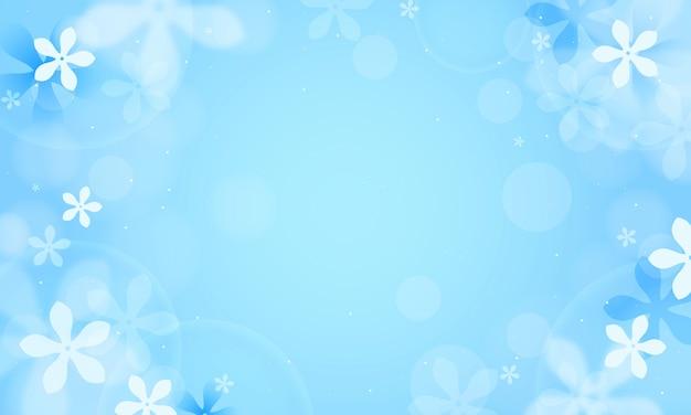 Fleurs de jasmin sur fond bleu bokeh