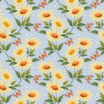 Fleurs jaunes colorées et modèle sans couture de papillon pour papier peint textile en tissu.