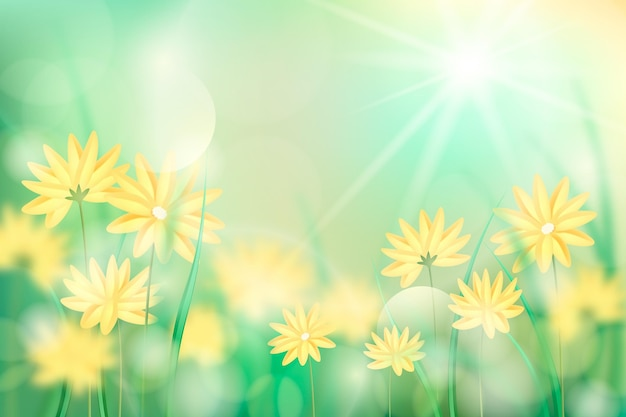 Fleurs jaunes fond de printemps flou réaliste