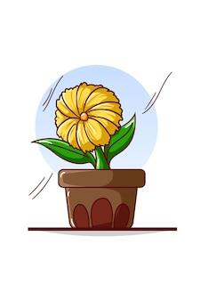 Fleurs jaunes sur illustration de pots