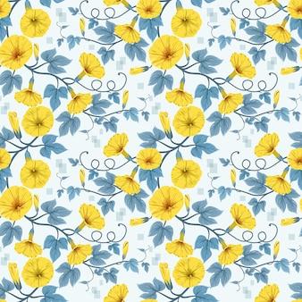 Fleurs jaunes et modèle sans couture de feuilles.