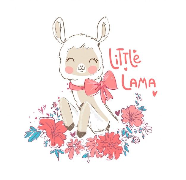 Fleurs et lama mignons dessinés à la main.