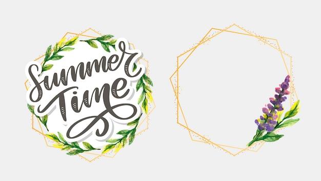 Fleurs de lettre heure d'été verte dans un style moderne. ensemble de cadre
