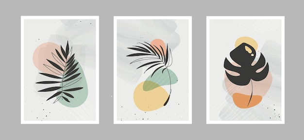 Fleurs de lignes abstraites modernes en lignes et arrière-plan artistique avec différentes formes pour la décoration murale