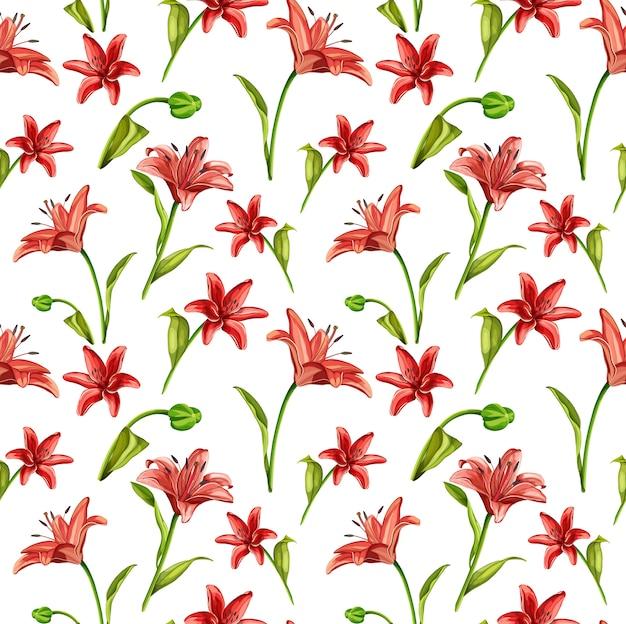 Fleurs de lis rouge réaliste de vecteur avec motif sans soudure de feuilles