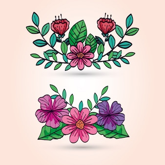 Fleurs mignonnes avec des branches et des feuilles