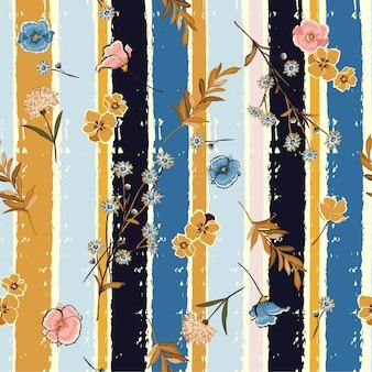 Fleurs sur le motif sans soudure rayures pinceau coloré bonbons