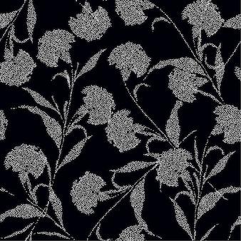 Fleurs d'oeillets de silhouette