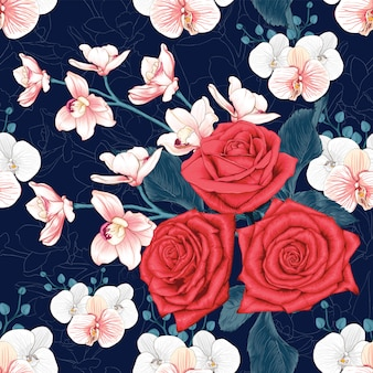 Fleurs d'orchidée rose et rose modèle sans couture rouge