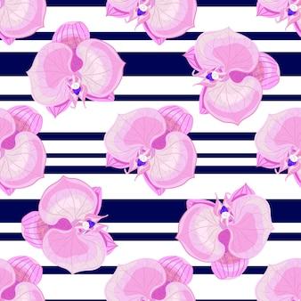 Fleurs d'orchidées sur rayures blanches et noires