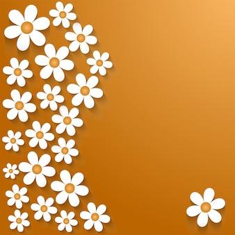 Fleurs de papier blanc sur fond doré.
