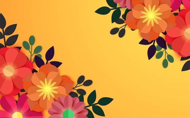 Fleurs de papier coloré sur fond jaune.