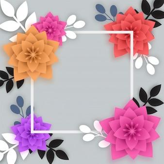Fleurs en papier colorées avec cadre carré blanc.